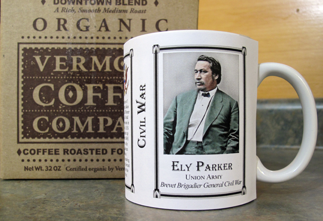 Ely Parker Civil War history mug, and a Native American in the Union Army.