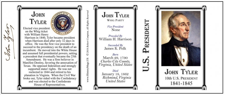 10th US President John Tyler mug tri-panel