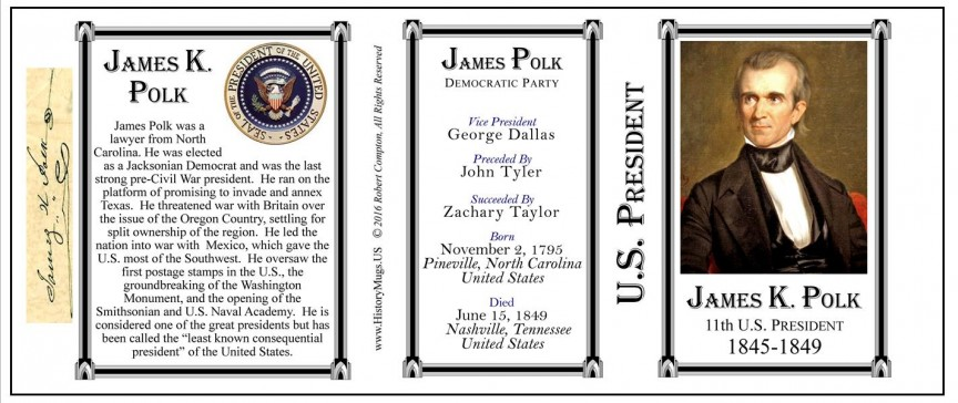 11th US President James Polk history mug tri-panel.