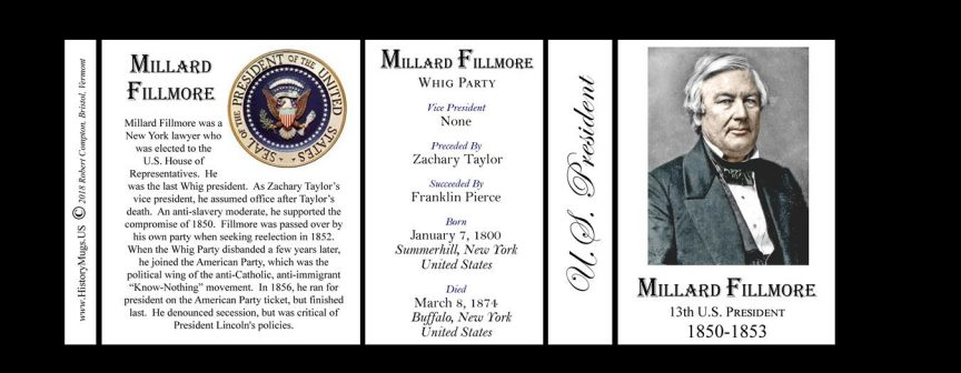 U.S. President Millard Fillmore history mug tri-panel.