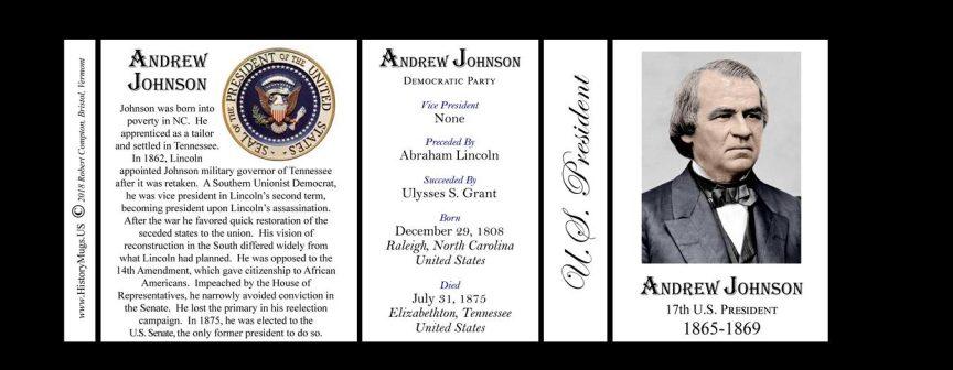 U.S. President Andrew Johnson history mug tri-panel.