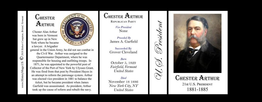 U.S. President Chester A. Arthur history mug tri-panel.