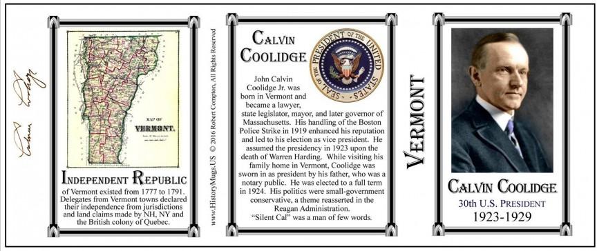 Calvin Coolidge Vermont history mug tri-panel.