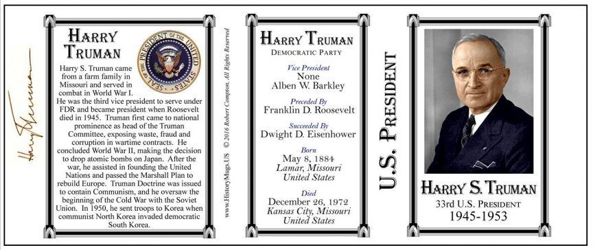 President Harry Truman tri-panel