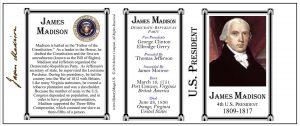 4th US President James Madison history mug tri-panel.