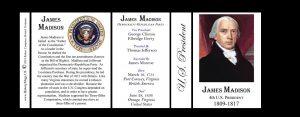 U.S. President James Madison black mug tri-panel.