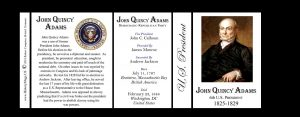 U.S. President John Quincy Adams history mug tri-panel.