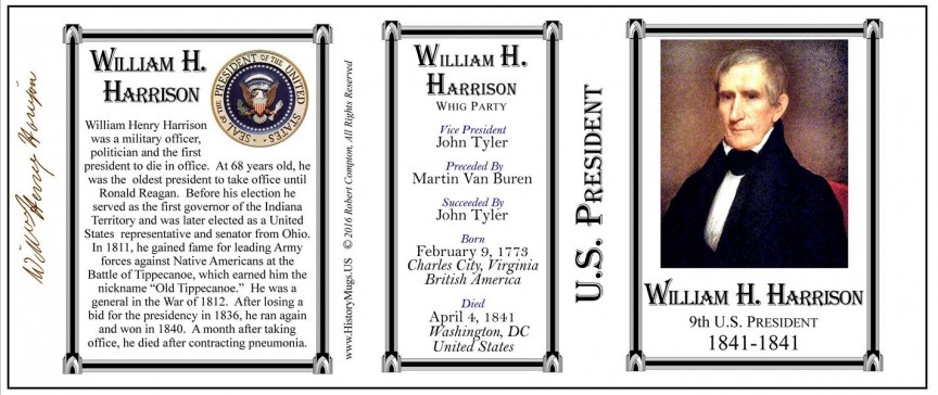 9th US President William Henry Harrison history mug tri-panel.