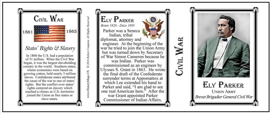 Ely Parker Native American tribal diplomat, attorney and engineer, History Mug tri-panel.
