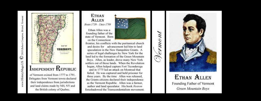 Ethan Allen Vermont history mug tri-panel.