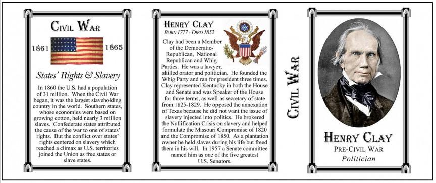Henry Clay Civil War Union civilian history mug tri-panel.