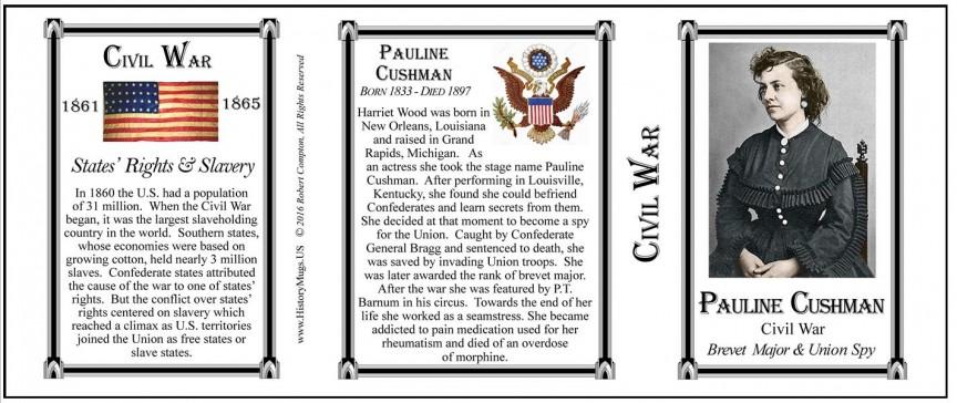 Pauline Cushman Civil War Union civilian history mug tri-panel.