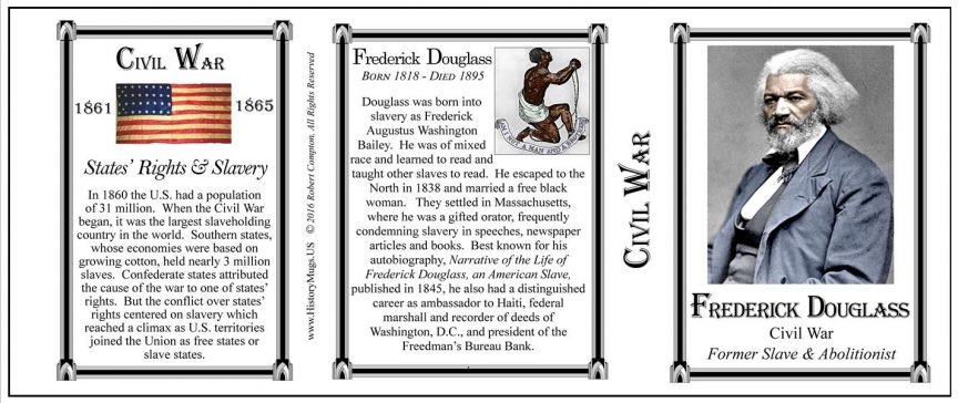 Frederick Douglass Civil War Union civilian history mug tri-panel.