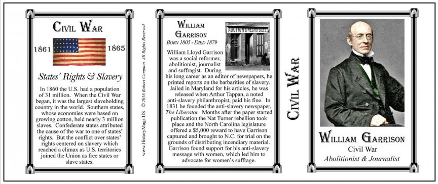William Lloyd Garrison Civil War Union civilian history mug tri-panel.