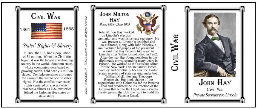 John Hay Civil War history mug tri-panel.