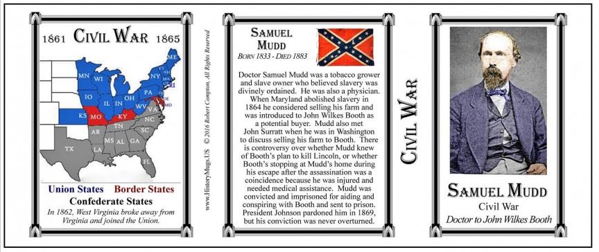 Samuel Mudd, Civil War mug tri-panel