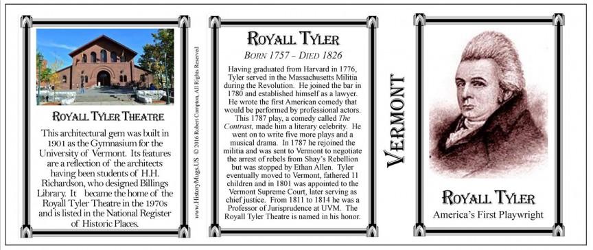 Royall Tyler Vermont history mug tri-panel.