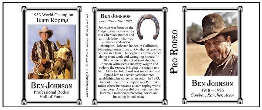 Ben Johnson, actor, rancher and cowboy history mug tri-panel.