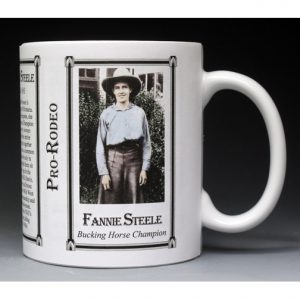 Fannie Sperry Steele Pro-Rodeo history mug.