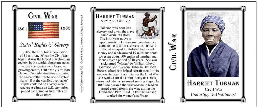Harriet Tubman Civil War History Mug tri-panel.