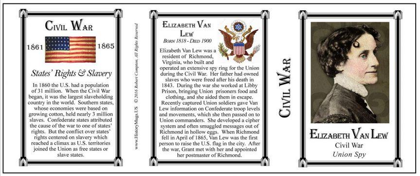 Elizabeth Van Lew Civil War history mug tri-panel.