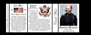 Ambrose Burnside, Civil War Union Army history mug tri-panel.