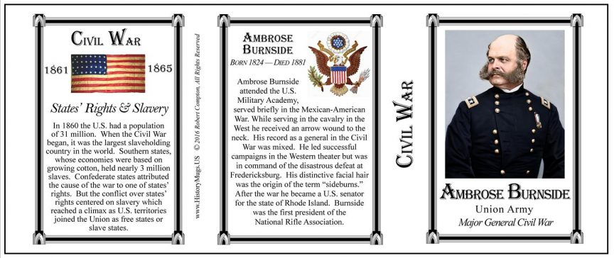 Ambrose Burnside Civil War history mug.