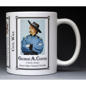 George Armstrong Custer Civil War Union Army history mug.