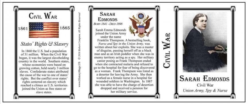 Sarah Edmonds, Civil War mug tri-panel