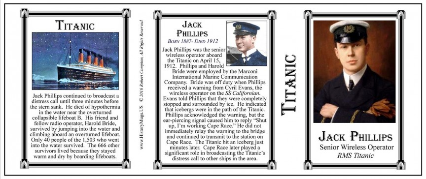 Jack Phillips Titanic history mug tri-panel.