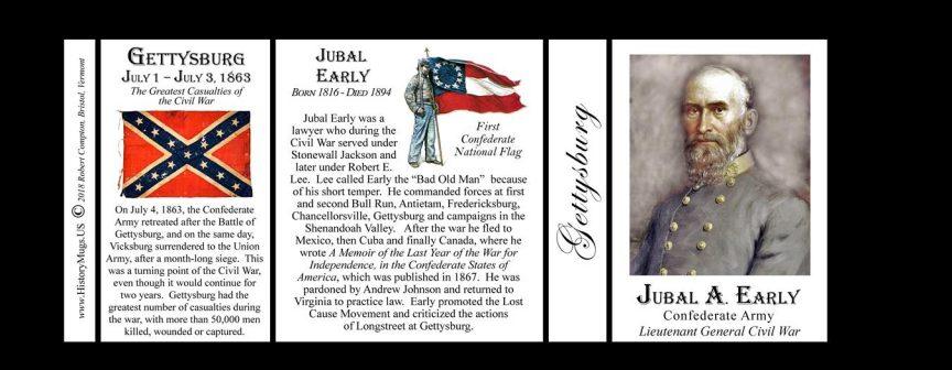 Jubal Early, Gettysburg history mug tri-panel.