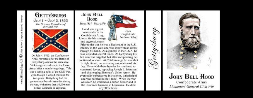 John Bell Hood, Gettysburg history mug tri-panel.