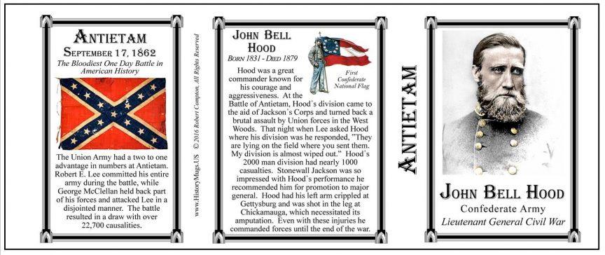 John Bell Hood Antietam history mug tri-panel.
