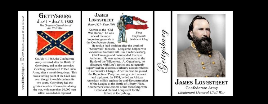 James Longstreet, Gettysburg history mug tri-panel.