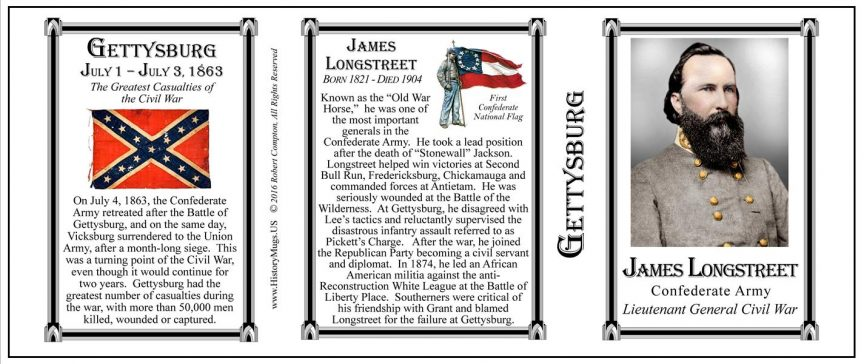 James Longstreet, Gettysburg mug tri-panel