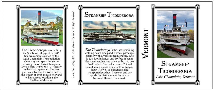 The Steamship Ticonderoga Vermont history mug tri-panel.