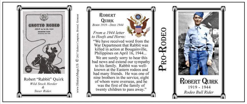 "Robert ""Rabbit"" Quirk, rodeo champion, History Mug tri-panel."