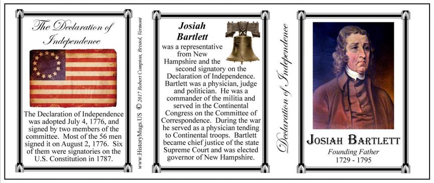 Josiah Bartlett Declaration of Independence signatory history mug tri-panel.