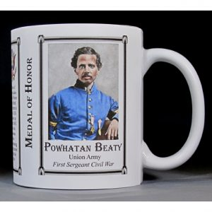 Powhatan Beaty Civil War Union soldier and Medal of Honor recipient history mug.