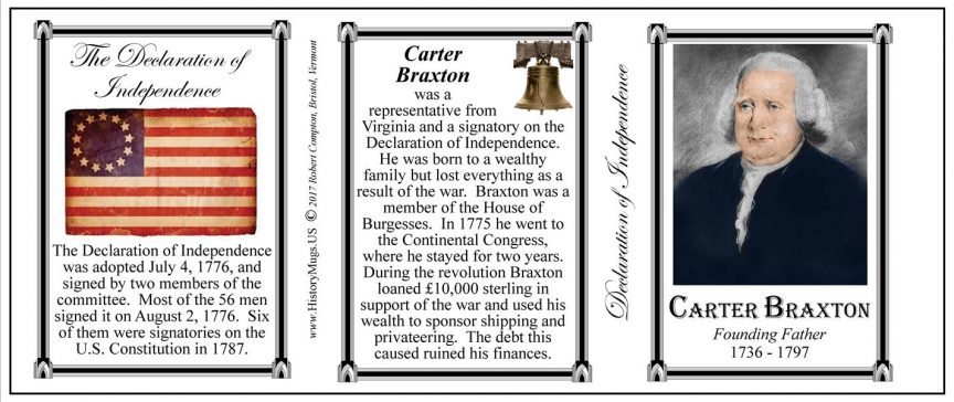 Carter Braxton Declaration of Independence signatory history mug tri-panel.