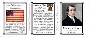 Abraham Clark Declaration of Independence signatory history mug tri-panel.
