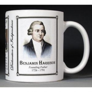 Benjamin Harrison Declaration of Independence signatory history mug.