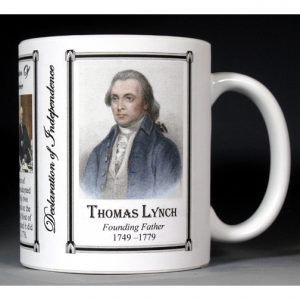 Thomas Lynch Jr. Declaration of Independence signatory history mug.