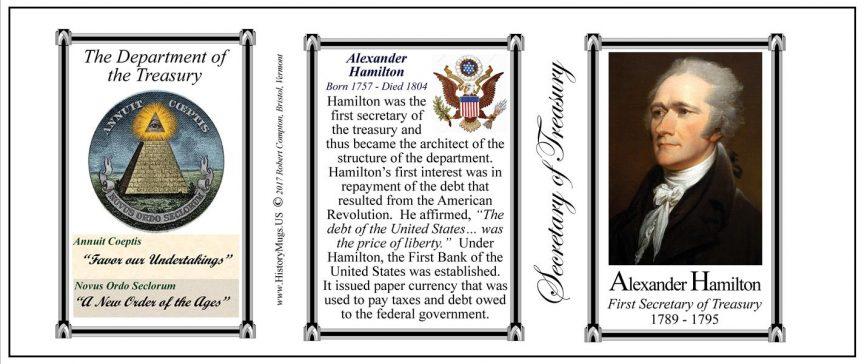 Alexander Hamilton, the first Secretary of the Treasury history mug tri-panel.
