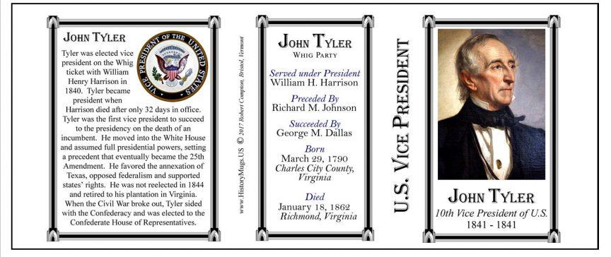 John Tyler US Vice President history mug tri-panel.