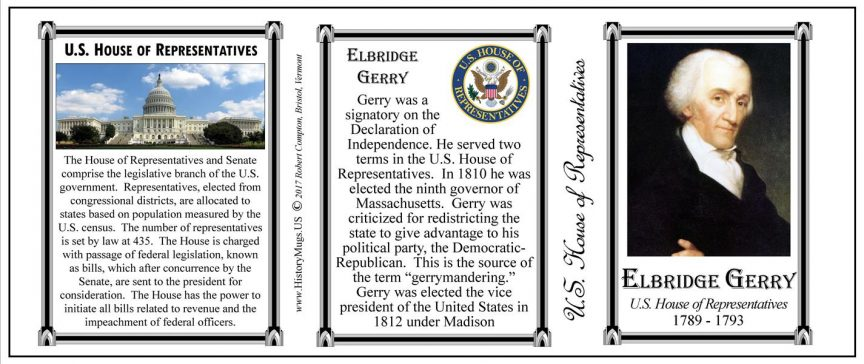 Elbridge Gerry US Representative history mug tri-panel.