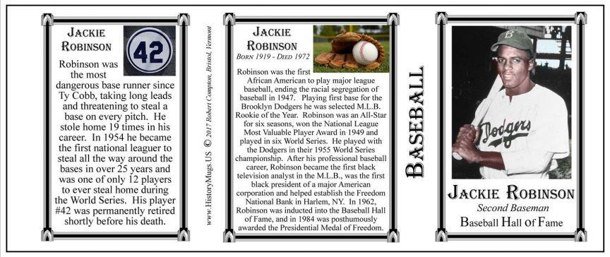 Jackie Robinson Baseball history mug tri-panel.