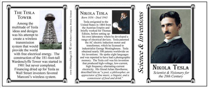 Nikola Tesla Scientist and Inventor History Mug tri-panel.