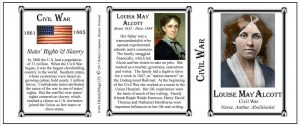 Louisa May Alcott Civil War Union civilian history mug tri-panel.