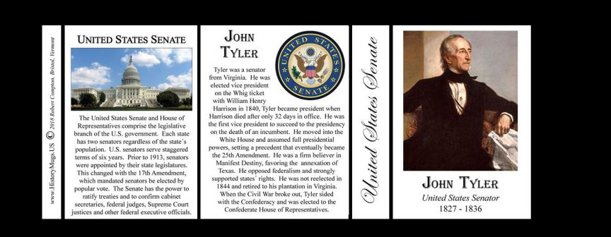 John Tyler US Senator history mug tri-panel.
